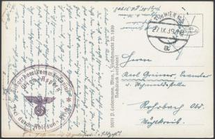 1939 Tábori posta képeslap Bécsből Fliegerhorstkommandantur Wien Aspern