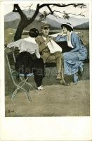 Kriegspostkarten von B. Wennerberg Nr. 3. Daheim / German WWI propaganda s: Wennerberg, I. világháborús német propaganda, Kriegspostkarten von B. Wennerberg Nr. 3. s: Wennerberg