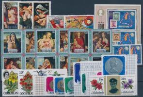 44 db bélyeg, közte teljes sorok, 4-es tömbök, ívsarki és ívszéli értékek + 1 db blokk, 2 db stecklapon, 44 stamps with complete set, blocks of 4, corner and margin stamps + 1 block on 2 stock cards