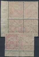 1913 Turul 50f ívszéli pár és ívszéli négyestömb gépszín és ívszínátnyomattal
