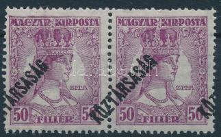 1918 Zita/köztársaság 50f pár erősen eltolódott felülnyomással