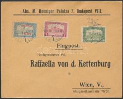 Additional franking on airmail cover to Vienna., 1918.jul. 9. Légi levél Bécsbe 1K50f Repülő posta bélyeggel és 1.80K kiegészítő bérmentesítéssel