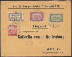 Mi 211 with additional franking on airmail cover to Vienna, 1918.jul. 9. Légi levél Bécsbe 4K50f Repülő posta bélyeggel és 1.90K kiegészítő bérmentesítéssel