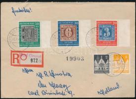 1949 100 éves a német bélyeg sor díjkiegészítéssel ajánlott levélen Hollandiába