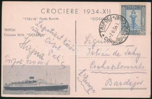 1934 Képeslap az Oceánia hajó földközi tengeri körutazásának utasától Tripoliból