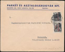 1946 (15. díjszabás) Helyi levél levelezőlapként feladva Betűs (III) 2xTávolsági levél bérmentesítéssel