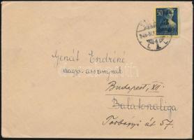 1945 (2. díjszabás) Távolsági levél Kisegítő (II) 3P/50f bérmentesítéssel Szeged - Balatonaliga továbbküldve Budapestre