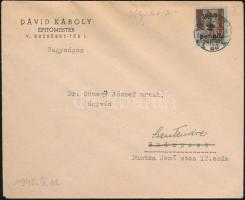 1945 (2. díjszabás) Távolsági levél helyiként feladva Kisegítő (II) 2P/4f bérmentesítéssel