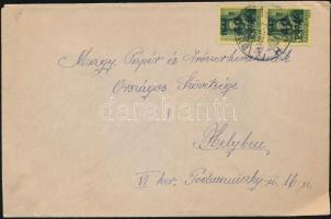 1945 (5. díjszabás) Helyi levél Kisegítő (III) 2x40P/8f bérmentesítéssel (hiányos boríték, saját papírjával javítva)