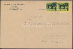 1945 (5. díjszabás) Távolsági levelezőlap Kisegítő (III) 2x40P/8f bérmentesítéssel