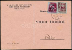 1945 (2. díjszabás) Nyomtatvány Kisegítő (I) 10f/4f + 30f/30f bérmentesítéssel