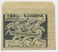 cca 1910 Bp., V. Török és Társa bankház. Sorsjátékhoz szerencseszámok tartására szolgáló boríték