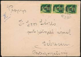 1945 (2. díjszabás) Távolsági levél Kisegítő (I) 3x1P/1P bérmentesítéssel, tartalommal