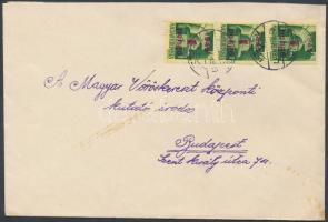 1945 (3.díjszabás) Távolsági levél előző díjszabás szerint feladva Kisegítő (I) 3x1P/1P bérmentesítéssel