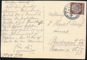 1939 Hindenburg egyes bérmentesítés képeslapon Mi 518