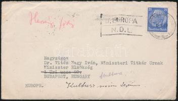 1939 Levél Bremen - New York hajóposta bélyegzéssel