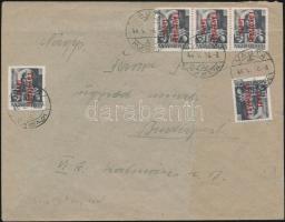1946 (15.díjszabás) Távolsági levél Betűs (III) 5xTávolsági levél/18f bérmentesítéssel (hajtott, sérült hajtóka)