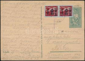 1945 (4.díjszabás) Távolsági levelezőlap Kisegítő (II) 2x20P/30f bérmentesítéssel