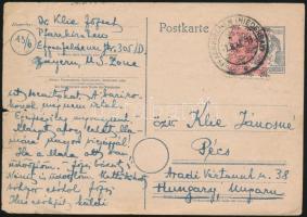 Egyes bérmentesítés levelezőlapon Pécsre Single franking on card to Pécs