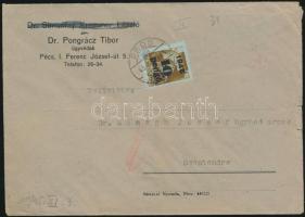 1945 (4.díjszabás) Távolsági cenzúrázott levél Kisegítő (II) bérmentesítéssel