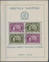 1938 I. Zogu király blokk Mi 2