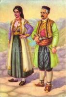 Crnogorska narodna nosnja; 'Fototechnika' Zagreb / Montenegrin national costume, folklore, Montenegrói népviselet, folklór