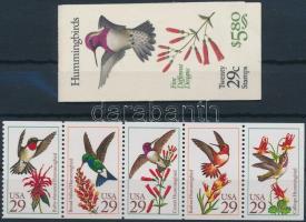 Bird; Hummingbird stamp booklet + sheet, Madár; Kolibri bélyegfüzet + lap