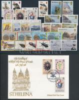 50 stamps with blocks of 4 + 3 blocks + 1 minisheet + 1 FDC, 50 db bélyeg, közte 4-es tömbök + 3 db blokk + 1 db kisív + 1 db FDC