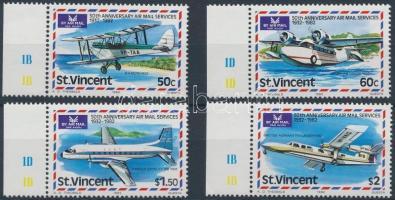 Airmail margin set, 50 éves légiposta ívszéli sor