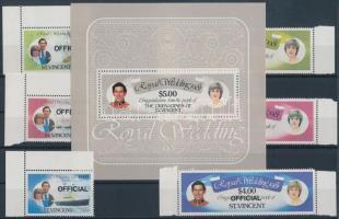 Prince Charles and Lady Diana's wedding margin set + block, Károly herceg és Lady Diana esküvője ívszéli sor + blokk