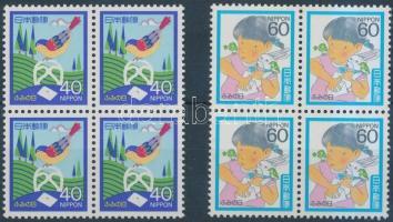 Letter writing day set in blocks of 4, Levélírás napja sor négyestömbökben