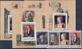 1978 Dürer sor + sor vágott blokksor formában, nyomtatott fogazással Mi 831-834