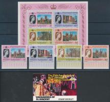 25th Coronation anniversary of Elizabeth II margin set + block + stampbooklet, II. Erzsébet koronázásának 25. évfordulója ívszéli sor + blokk + bélyegfüzet