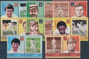 Cricket players set in pairs, Krikett játékosok sor párokban