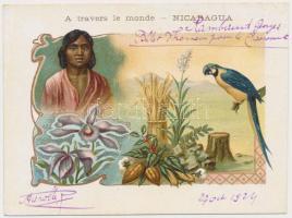 cca 1880-1900 A travers le monde- Nicaragua, Paris, korabeli litho reklámkártya, 8,5x12cm