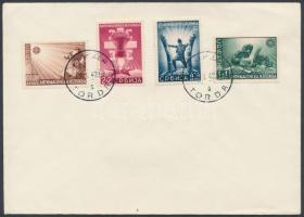 Szerbia 1942 Mi 58-61 címzetlen borítékon