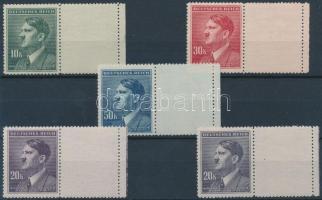 Böhmen und Mähren 1942 Hitler 4 klf ívszéli érték Vízszintes jobboldali üresmezővel Mi 107-108 LW + 20K színváltozata Mi 108 LW (foghibák)