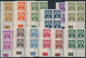 Böhmen und Mähren 1943 Hivatalos sor ívsarki négyestömbökben ívszámmal Mi 13-24 Pl.-Nr. 1-43