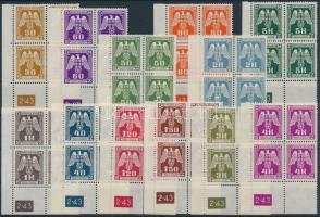 Böhmen und Mähren 1943 Hivatalos sor ívsarki négyestömbökben ívszámmal Mi 13-24 Pl.-Nr. 2-43