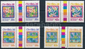 1988 Karácsony sor ívközéprészes párokban Mi 443-446