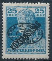 Debrecen I. 1919 Károly/Köztársaság 25f fekete felülnyomással, Bodor vizsgálójellel (8.000)