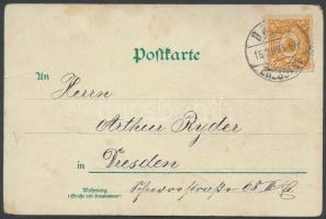 1899 Drezda litho képeslap magán - posta bélyeggel helyi küldeményként