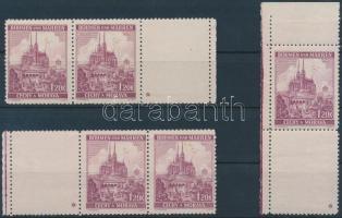 Böhmen und Mähren 1939 Tájkép 1,20K jobb és bal oldali ívszéli üresmezős hármascsík 1-1 csillaggal + ívsarki alsó üresmezős pár 1 csillaggal Mi 29