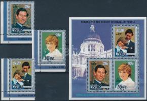 1981 Diana és Károly herceg esküvője ívsarki sor felülnyomással Mi 442-444 + blokk Mi 50