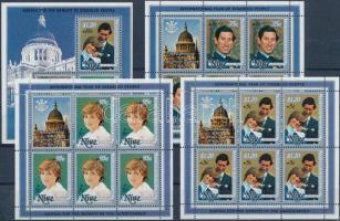 1981 Diana és Károly herceg esküvője kisívsor felülnyomással Mi 442-444 + blokk Mi 50