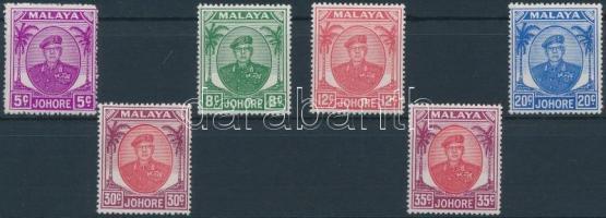 Johor 1949 Forgalmi, Ibrahim szultán 6 érték Mi 119, 212, 124, 127, 129, 130