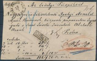 ~1870 Pénzeslevél előlap GYULA FEHER VÁR VÁR - Pest