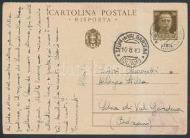 PS-card to Italy, Díjjegyes levelező Olaszországba