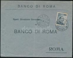 1914 Banklevél a líbiai Dernából Rómába olasz bélyeggel