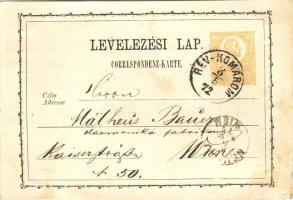 1872 Díjjegyes levelezőlap / PS-card RÉV-KOMÁROM